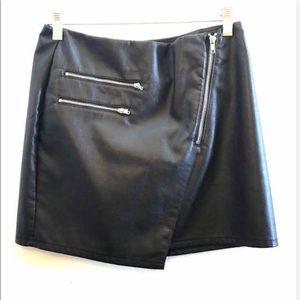 h&m black leather skirt